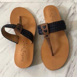 Jack Roger black and brown leather sandal size 6